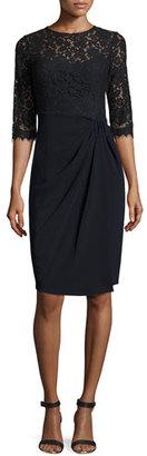 Rickie Freeman for Teri Jon 3/4-Sleeve Lace & Jersey Sheath Dress, Blue $470 thestylecure.com