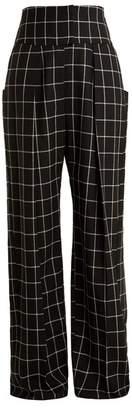 Preen by Thornton Bregazzi Ida windowpane-checked wide-leg wool trousers