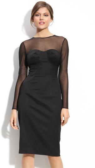 Maggy London Illusion Bodice Woven Sheath Dress