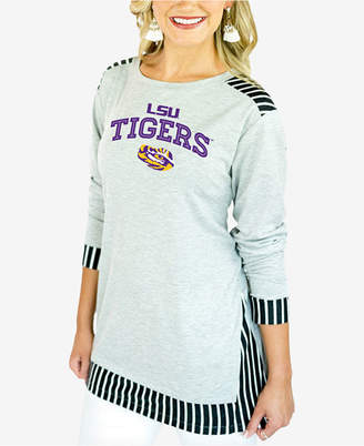 Couture Gameday Women Lsu Tigers Striped Panel Long Sleeve T-Shirt