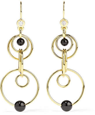 Ippolita Nova Mini Jet 18-karat Gold, Diamond And Onyx Earrings