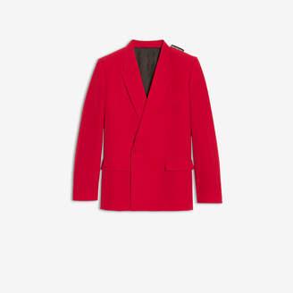 Balenciaga 80s Shoulder Jacket in red fluid technical twill