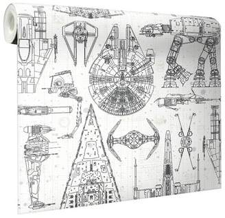 Star Wars RoomMates Spaceship Blueprints Peel and Stick Wallpaper