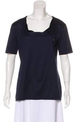 Gianfranco Ferre Satin Trim Scoop Neck T-Shirt