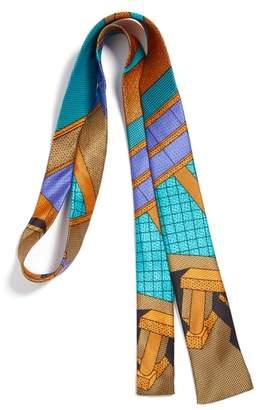 MEMPHIS GROUP MEMPHIS Milano Teal/Orange Print Silk Tie