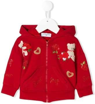 MonnaLisa embroidery zip hoodie