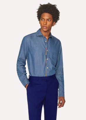 Paul Smith Men's Tailored-Fit Blue Chambray Shirt With 'Artist Stripe' Placket Embroidery