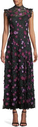 Lela Rose High-Neck Sleeveless A-Line Long Floral-Lace Evening Dress