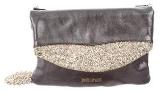 Just Cavalli Glitter-Embellished Leather Bag
