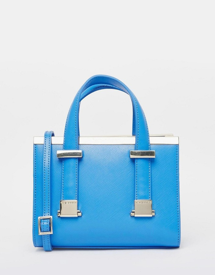 Ted Baker Leather Metal Bar Minature Tote