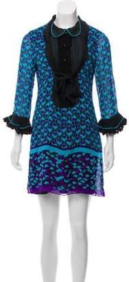 Anna Sui Long Sleeve Printed Dress Blue Long Sleeve Printed Dress