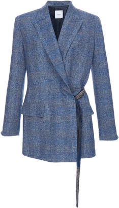 Agnona Alpaca Tweed Check Belt Jacket