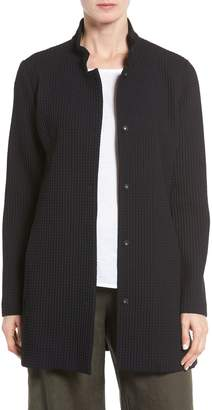 Eileen Fisher Grid Stretch Cotton & Tencel(R) Blend Jacket