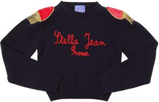 Stella Jean Cropped Wool Blend Knit Sweater