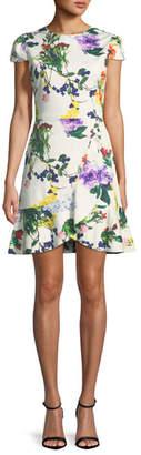 Alice + Olivia Kirby Jewel-Neck Cap-Sleeve Floral-Print Dress