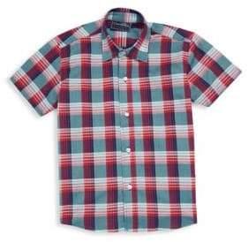 Oscar de la Renta Little Boy's and Boy's Plaid Cotton Collared Shirt