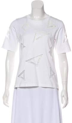 Chloé Embroidered Short Sleeve Top White Chloé Embroidered Short Sleeve Top