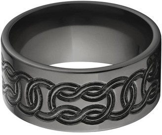 Celtic Generic 10mm Flat Black Zirconium Ring with a Milled Design