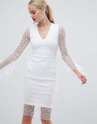 773b97327bf013 Vesper allover lace pencil dress with fluted sleeve in white