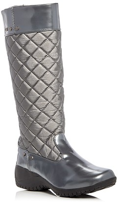 Khombu Alex Metallic Quilted Waterproof Wedge Boots $95 thestylecure.com