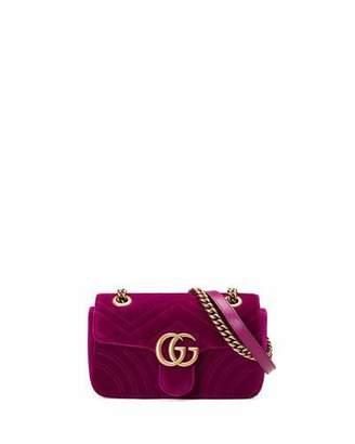 Gucci GG Marmont 2.0 Mini Quilted Velvet Crossbody Bag, Dark Fuchsia $1,290 thestylecure.com