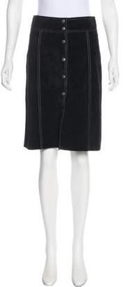 Theory Leather Knee-Length Skirt w/ Tags