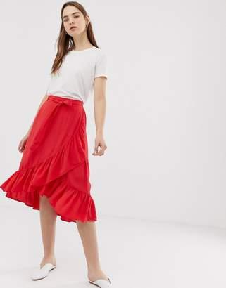Minimum ruffle wrap skirt