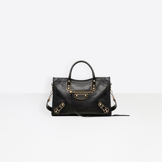 Balenciaga Small size shiny goatskin hand carry and shoulder bag with metallic edge hardware