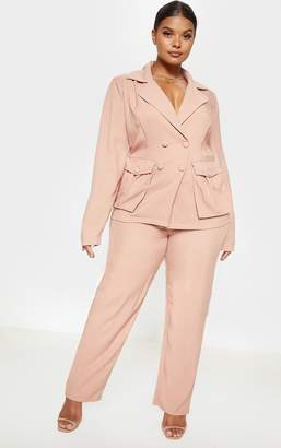 PrettyLittleThing Plus Red Pleated Buckle Detail Wide Leg Trouser