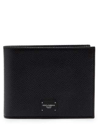 Dolce & Gabbana Bi Fold Grained Leather Wallet - Mens - Black