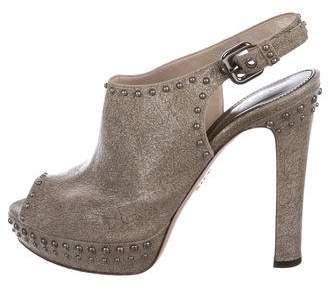 Prada Studded Patent Leather Booties