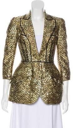 Alexander McQueen Silk-Blend Metallic Blazer w/ Tags