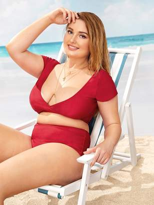 8fdfa2914 Shein Plus Plunge Top With High Waist Two Piece Swimwear