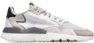 adidas white Nite Jogger suede and leather low-top sneakers