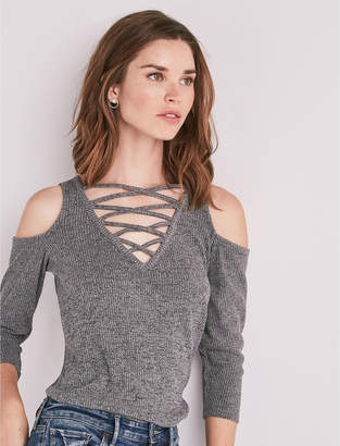 Lucky Brand Crisscross Cold Shoulder Top