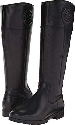 Rockport Women's Tristina Rosette Tall Boot - Wide Calf Black Cas Leather WL WC Boot (C)