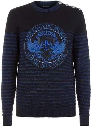 Balmain Embellished Metallic Medallion Sweater