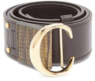 Chloé Monogram Buckle Leather Belt - Womens - Black