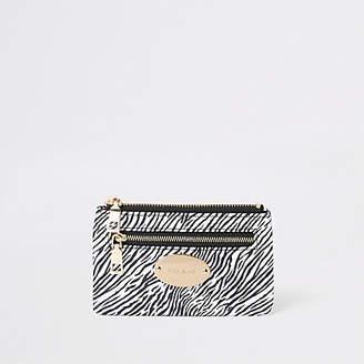 River Island Black zebra print zip pouch card holder