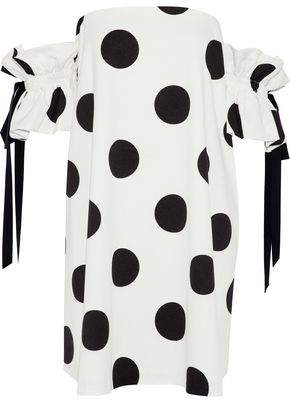 Sachin + Babi Mayya Off-The-Shoulder Polka-Dot Faille Mini Dress