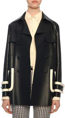Valentino Leather Double-Breasted Contrast-Tipped Coat