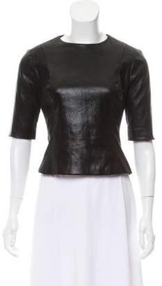 Cushnie et Ochs Long Sleeve Leather Top