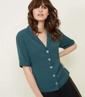 New Look Dark Green Button Front 1/2 Sleeve Boxy Shirt