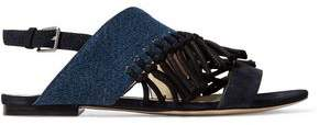 3.1 Phillip Lim Kiddie Fringed Denim And Suede Sandals