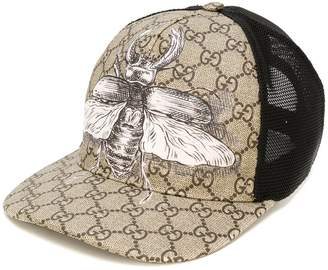 Gucci insect print GG Supreme baseball hat