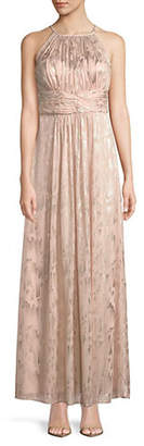 Eliza J Sleeveless Shirred Illusion Gown