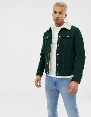 Pull&Bear borg lined cord jacket in green