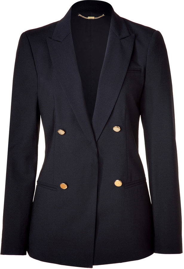 DKNY Black Double-Breasted Wool Blazer