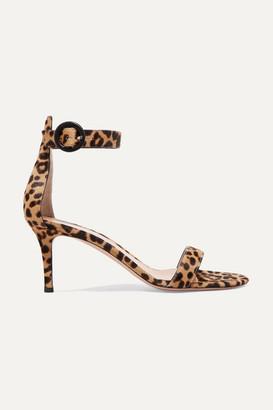 Gianvito Rossi Portofino 70 Leopard-print Calf Hair Sandals - Leopard print