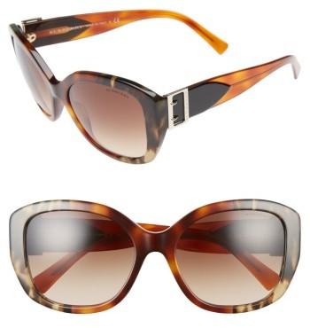 Women's Burberry 57Mm Gradient Butterfly Sunglasses - Brown/ Grey
